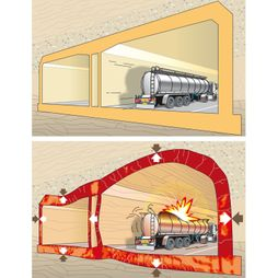 effect ontploffing explosie tankwagen tunnel illustratie vector